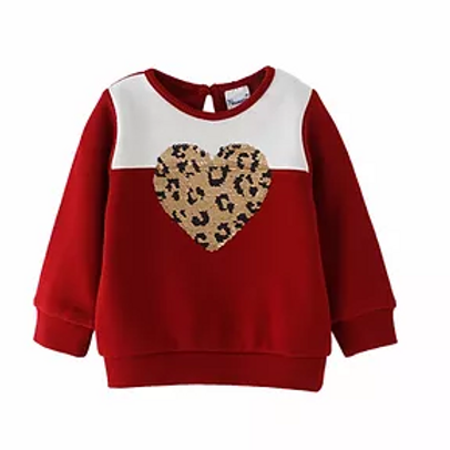 Burgundy Sweatshirt with Heart Applique