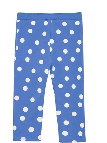 Blue and White Polka Dot Leggings