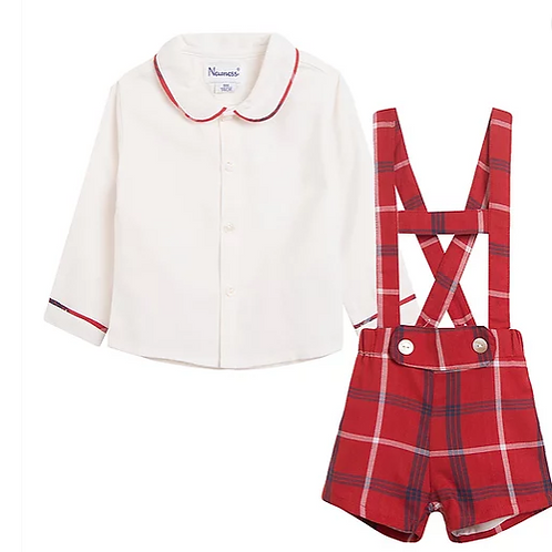Red Romper with Cream Shirt