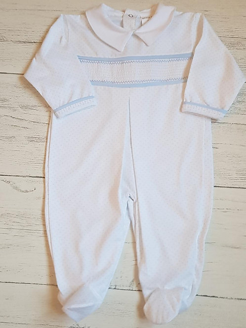 Smocked Sleep Suit with Pin Head Dotted Pattern