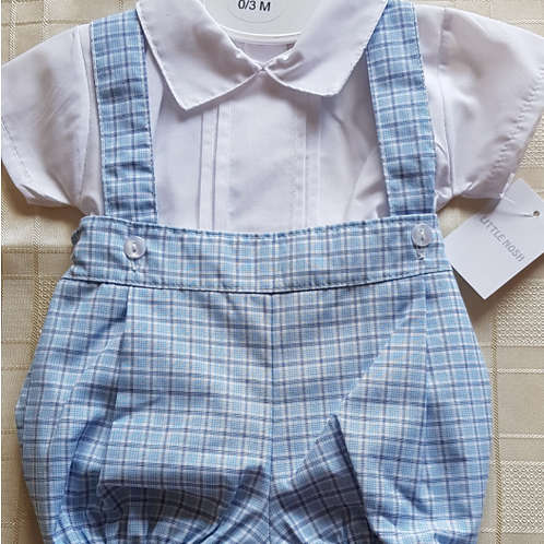 Blue Checked Romper with Shirt