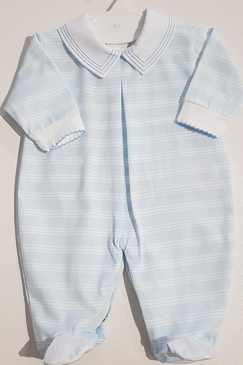 Pale Blue and White Striped Sleep Suit.