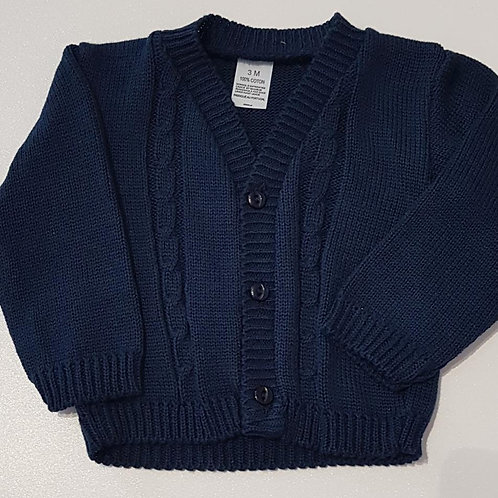 Navy V-Neck Cable Cardigan