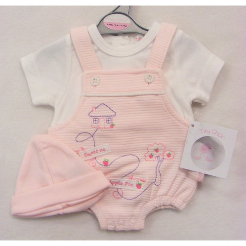Premature Baby Girls Dungaree Romper with Hat