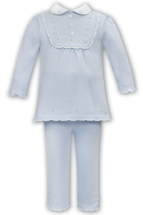 Sarah Louise Pale Blue Two-Piece Knitted Set