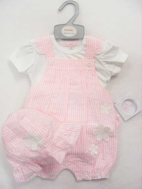 Pink and White Striped Dungaree and Top