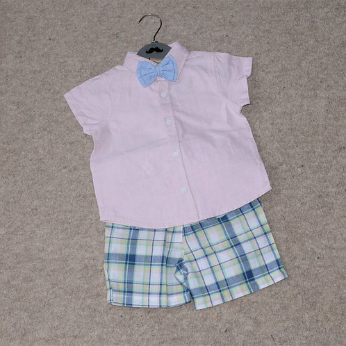 Boys Pink Shirt With Bow Tie & Check Short Outfit