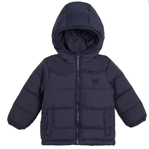 Boys Navy Blue Padded Coat With Hood