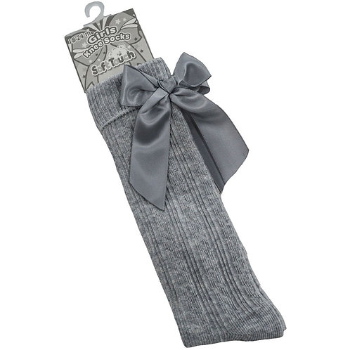 Grey Knee High Socks With Bows