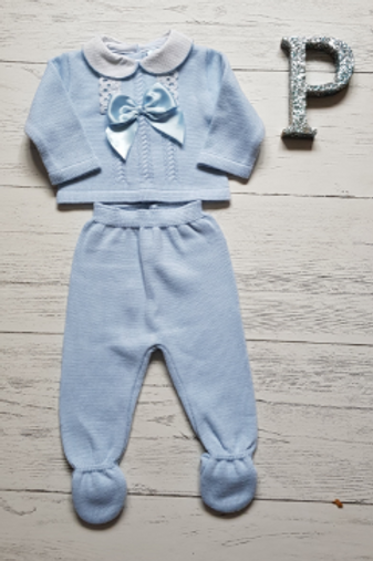 Sky Bow and Lace Two Piece Set
