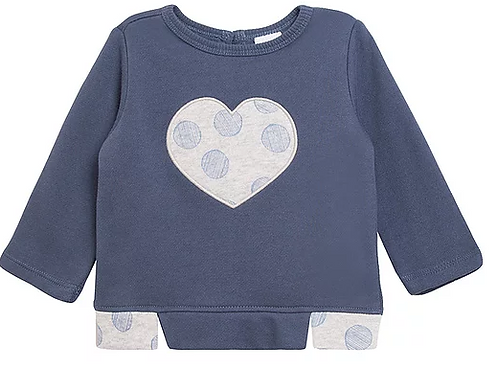 Blue Top With Applique Heart