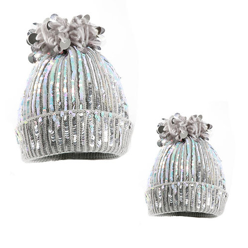 Adult & Child Hat with Sequin Pompoms
