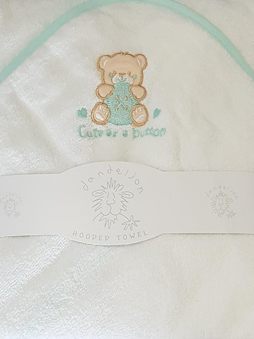 White and Mint Hooded Towel