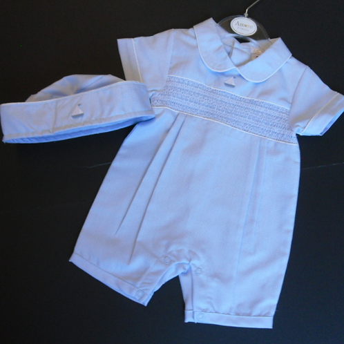Smocked Romper with Hat