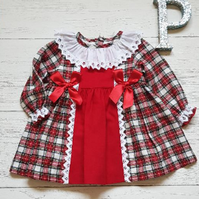 "Red/White Tartan ""Lace and Bow"" Dress"