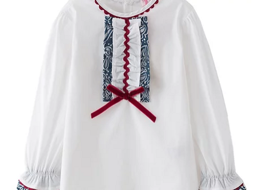 White Blouse with Wine and Blue Frill