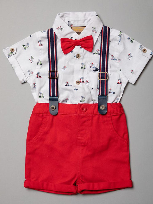 Short and Shirt Set with Braces and Bow Tie