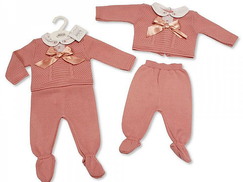 Knitted Bow and Lace Two Piece Set
