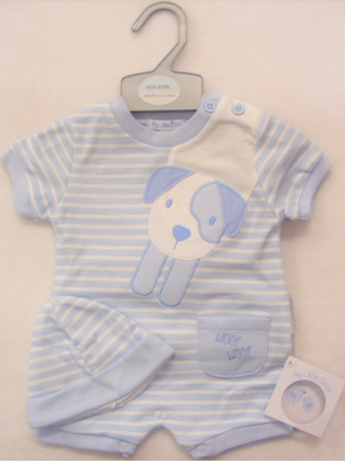 Blue and White Puppy Romper