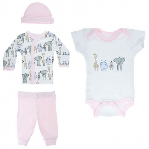 Soft Touch Premature Pink Safari Print 4 Piece Set