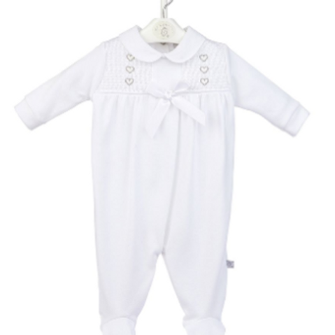 Heart and Bow Smocked Sleepsuit