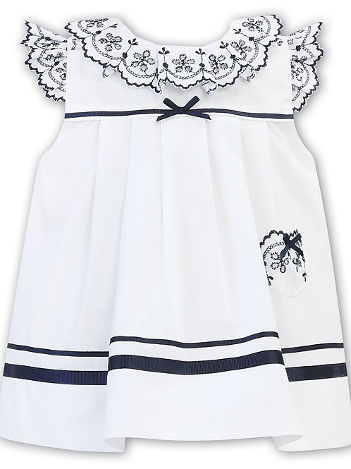 Sarah Louise Baby Girls White & Blue Dress