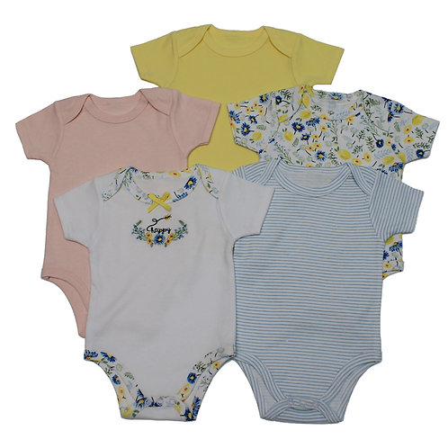 Flowers and Stripes Five Pack Bodysuits