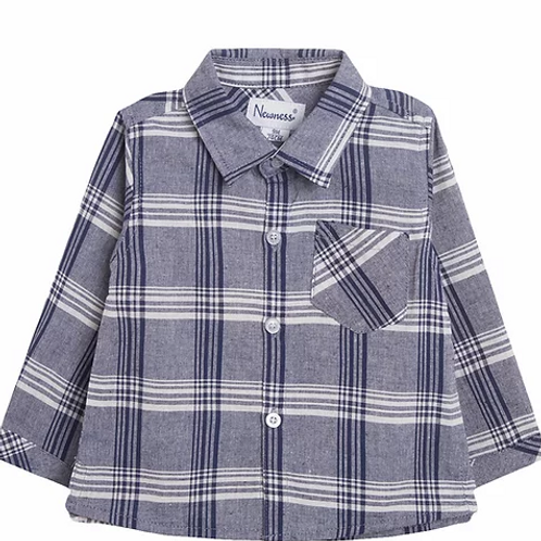Navy and White Checked Shirt
