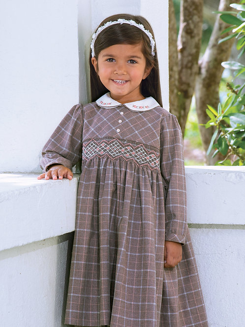 Sarah Louise Brown and Ivory Smocked Dress