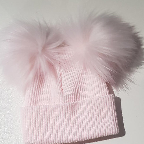 Baby Pink Hat with Fluffy Pompoms