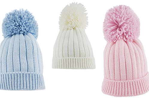 Ribbed Pompom Hats
