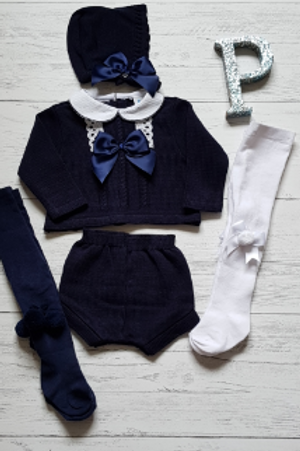 Navy Bow and Lace Two Piece (Bonnets and tights sold separatley)