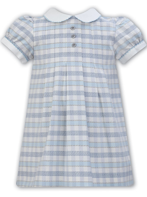 Sarah Louise Blue and Ivory Checked Dress