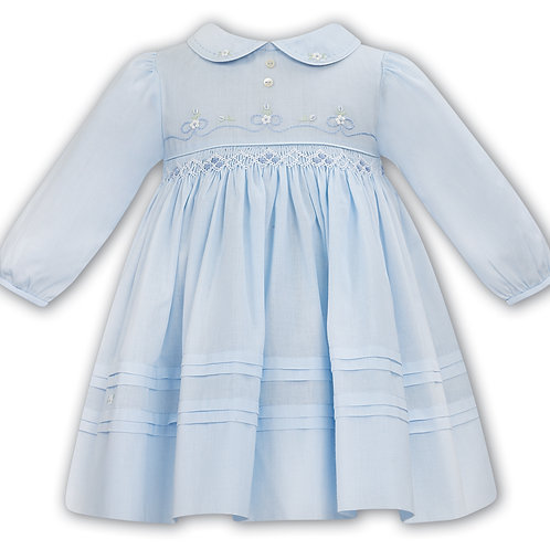 Sarah Louise Blue Smocked Dress with Flowers