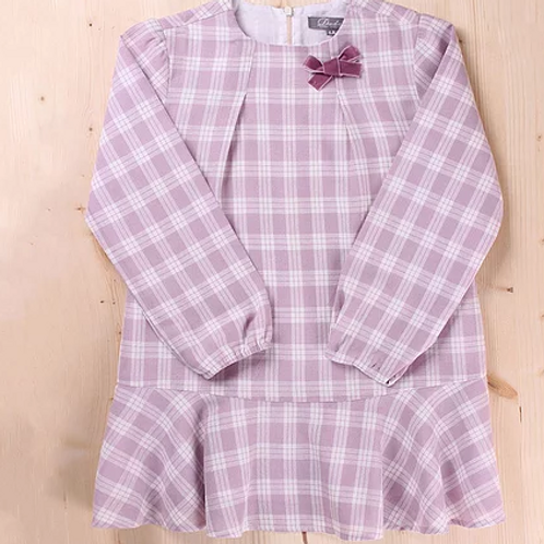 Dusky Pink Checked Dress