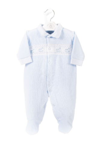 Velour Smocked Sleep Suit Rocking Horse