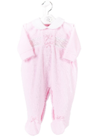 Velour Smocked Sleepsuit