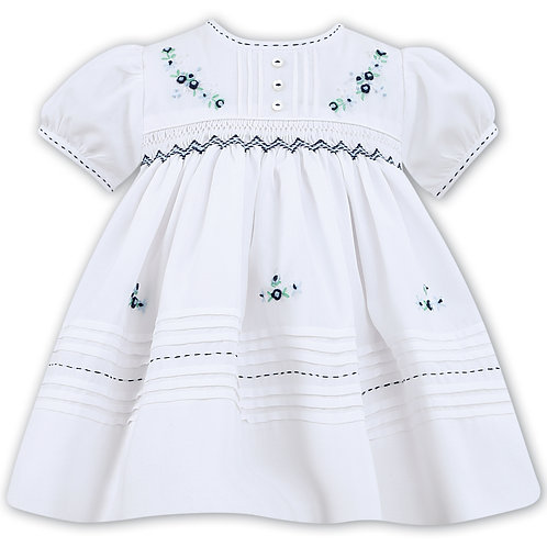 Sarah Louise Withe Dress with Navy and Green Smocking
