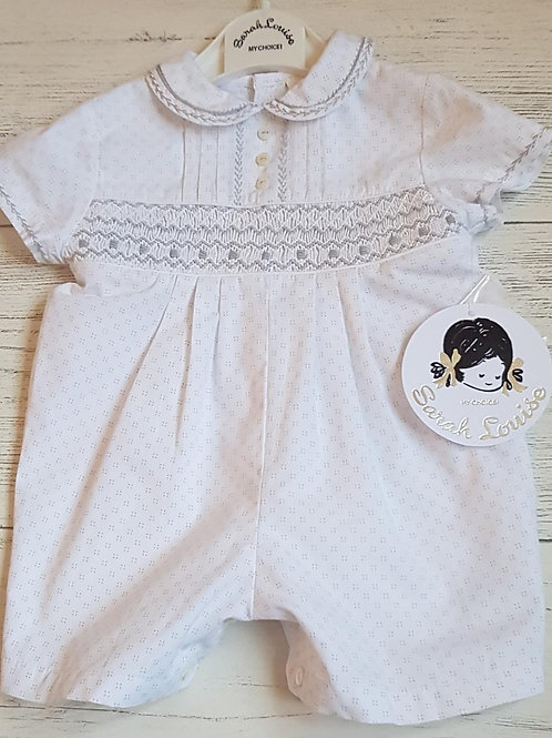 Sarah Louise Grey and White Romper