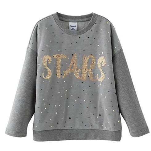 Grey Sweatshirt with Gold Sequined Motif