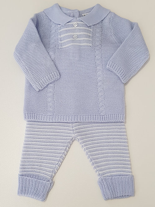 Blue and White Striped Knitted Two Piece