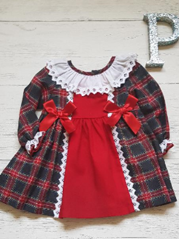 """Green/Red Tartan """"Lace and Bow"""" Dress"""