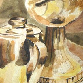 Watercolor Lanter Still Life