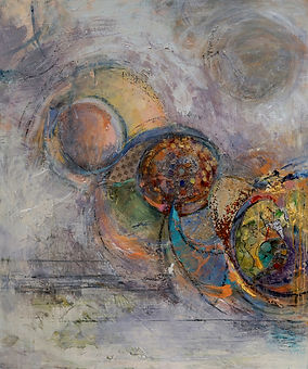 Cosmic Spheres #1, 50 x 41.5, mixed medi