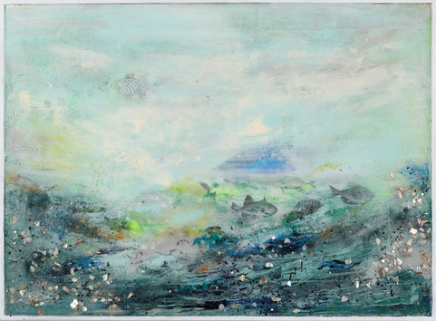 """The Deepest Deep 2 (diptych) #1, 22 x 30"""", mixed media and resin on panel"""