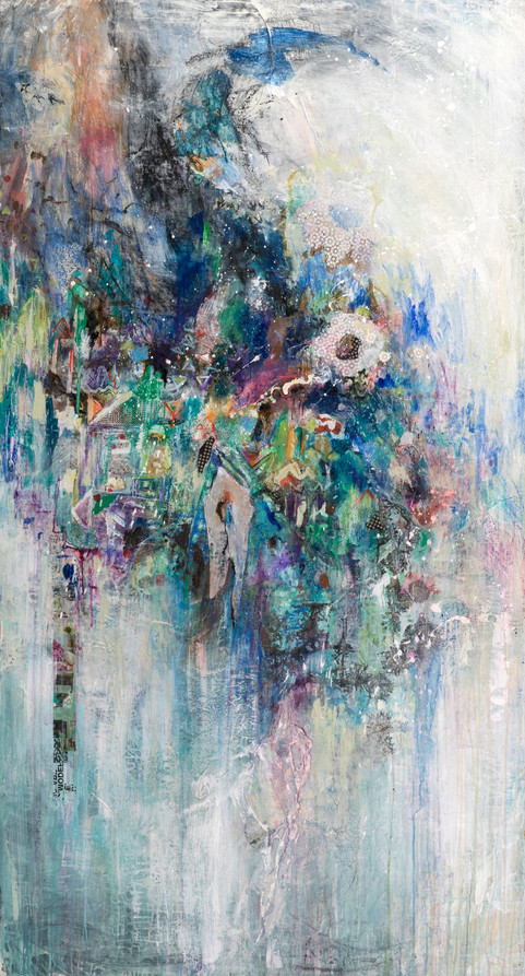"Shangrila, 82 x 44"", mixed media on canvas"