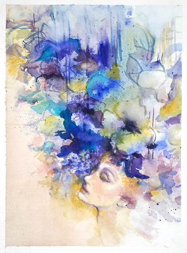 "Dreamer ll, 51 x 46"", mixed media on canvas"