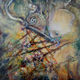 "Women & Vessels #3, 50 x 48"" Mixed Media on Canvas"