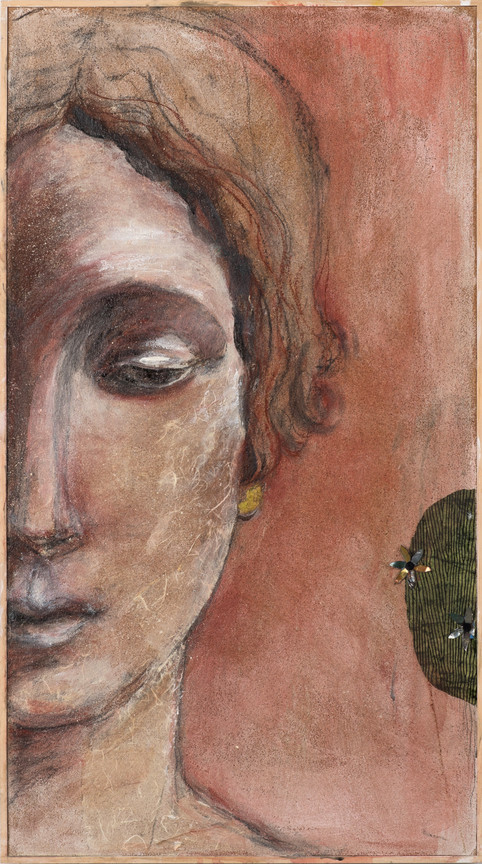 "Mona, 39 x 22"", mixed media on cork panel"