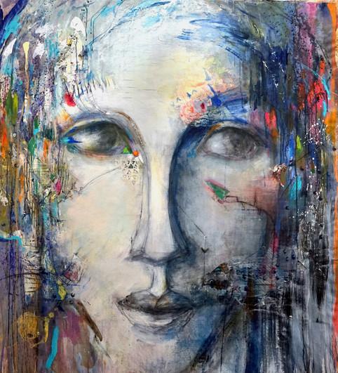 """Signaling Dreams 1, 46 x 46"""", mixed media on canvas"""